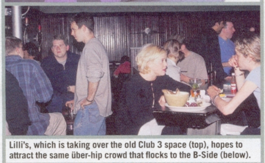 Keeping with my high profile on the Boston scene, here with friends John Graff and Greg Lawson (with back to us), I can be seen enjoying a night on the town. Notice the caption!