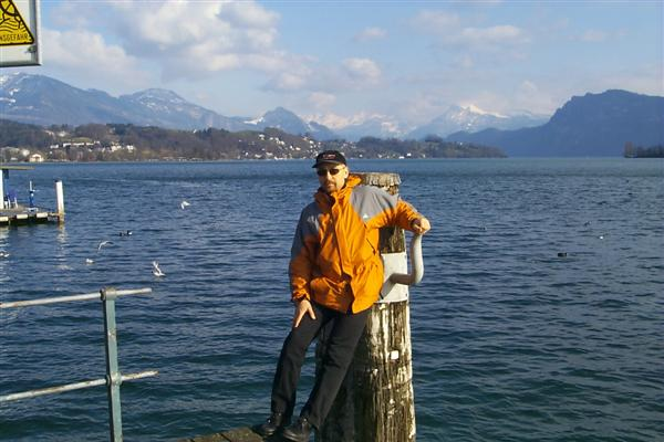 In March I returned to Switzerland to perform some finishing touches to my PhD research.  Here is my advisor Prof. M. Selim Ünlü standing next Lake Lucerne in Lucerne.