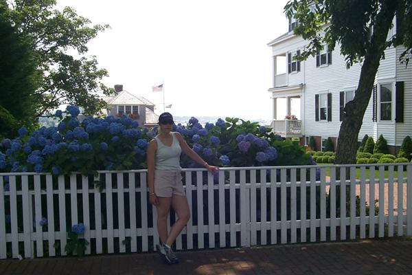 In July 2003 Rachel and I took a nice weekend trip to Martha's Vineyard.  Here's Rae in front of a house in Edgartown.